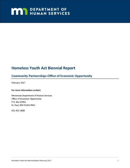 Homeless Youth Act Legislative Report